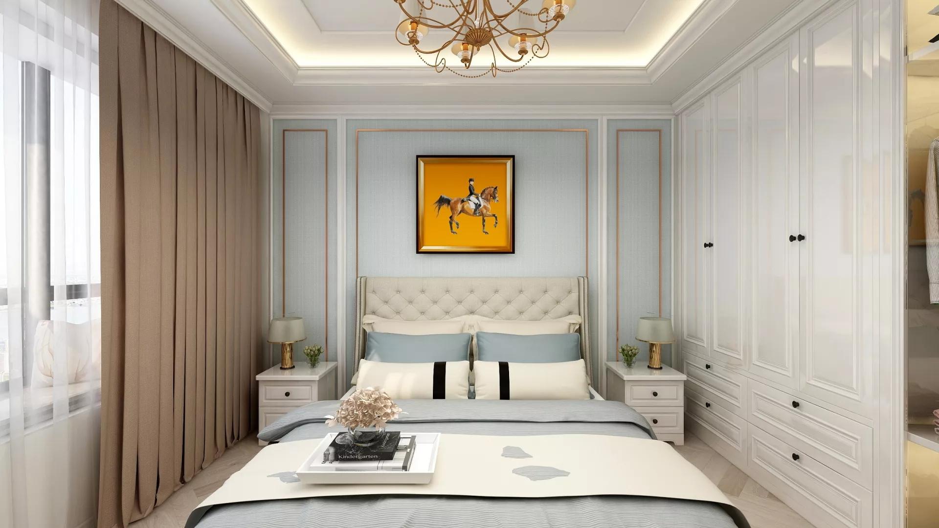 使用蓝色白色和灰色作为特殊着色,卧室的外观依然轻松。