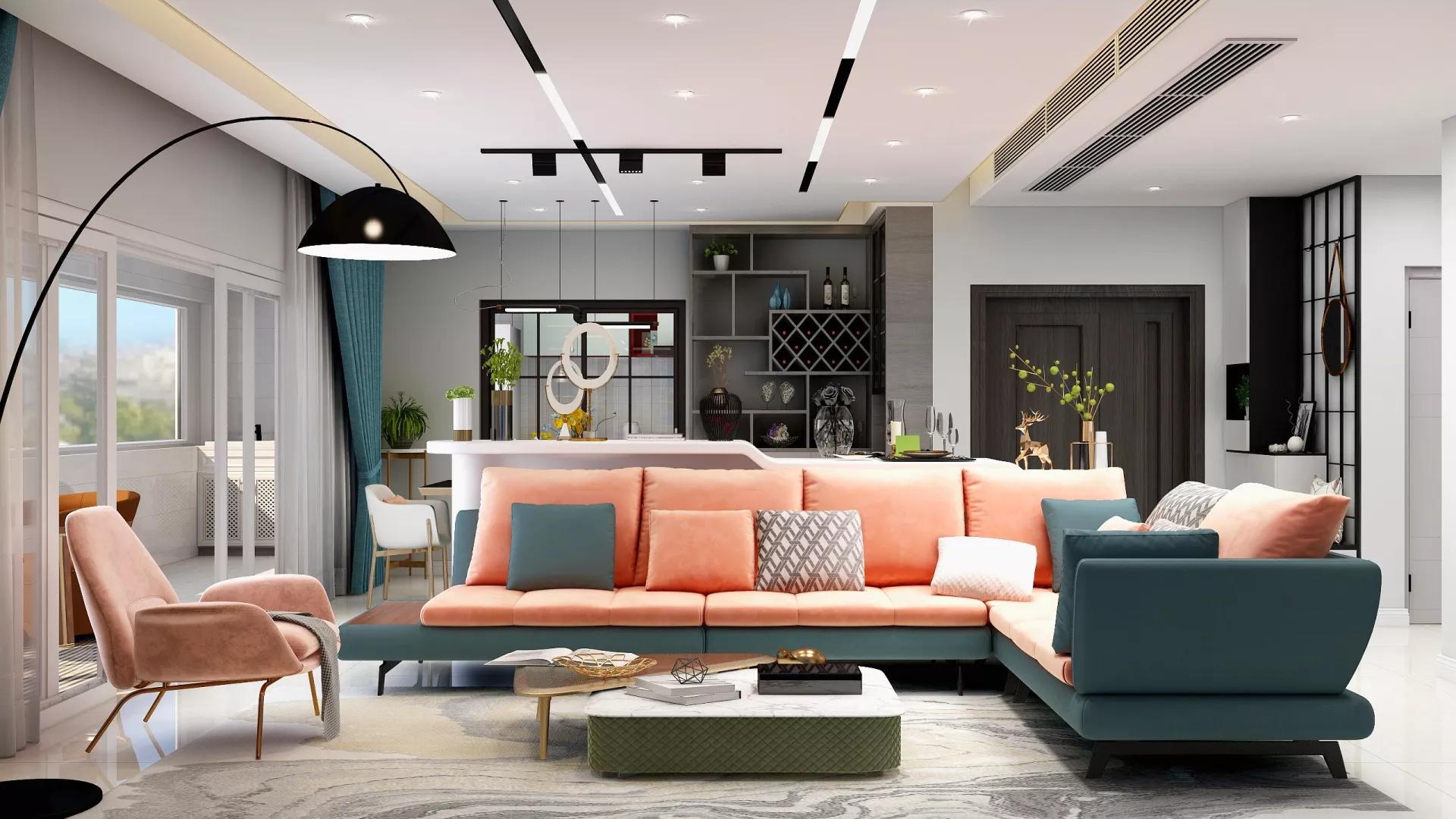 一居室小户型现代前卫客厅装修效果图