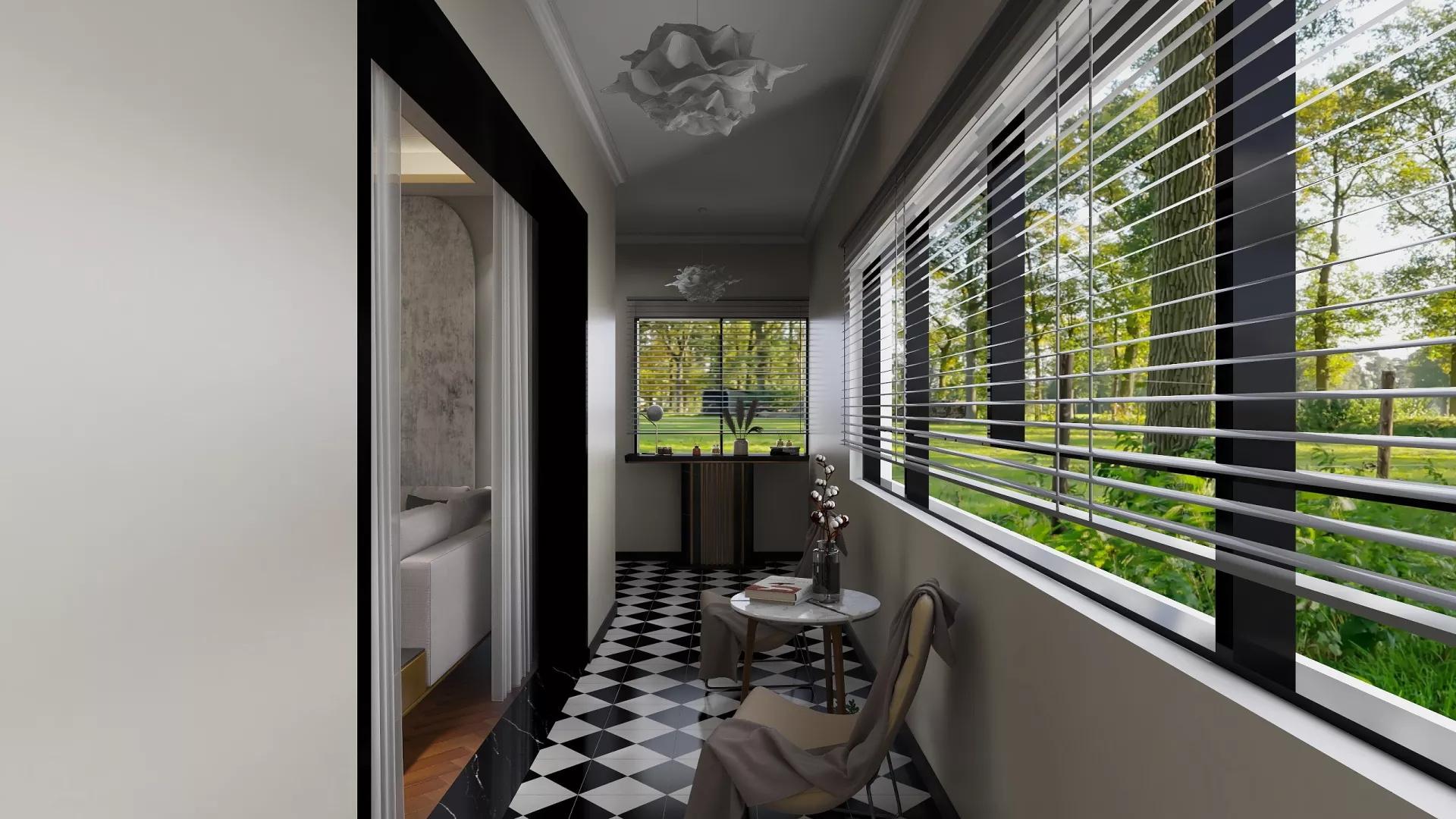 120平现代二居楼道装修设计效果图