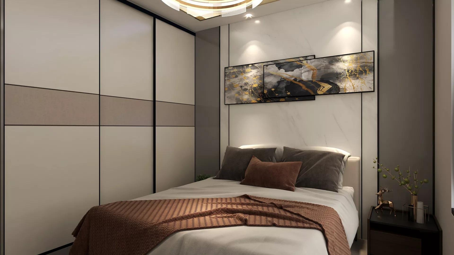 145平现代风格客厅背景墙装修效果图