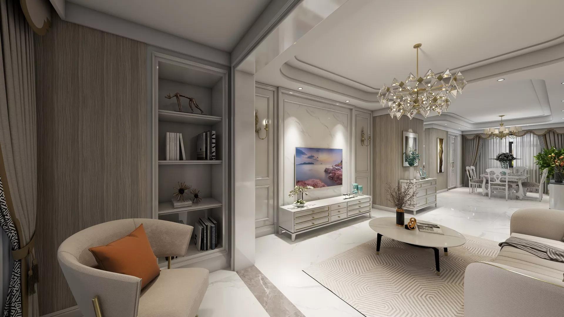 300㎡别墅混搭风格客厅装修效果图