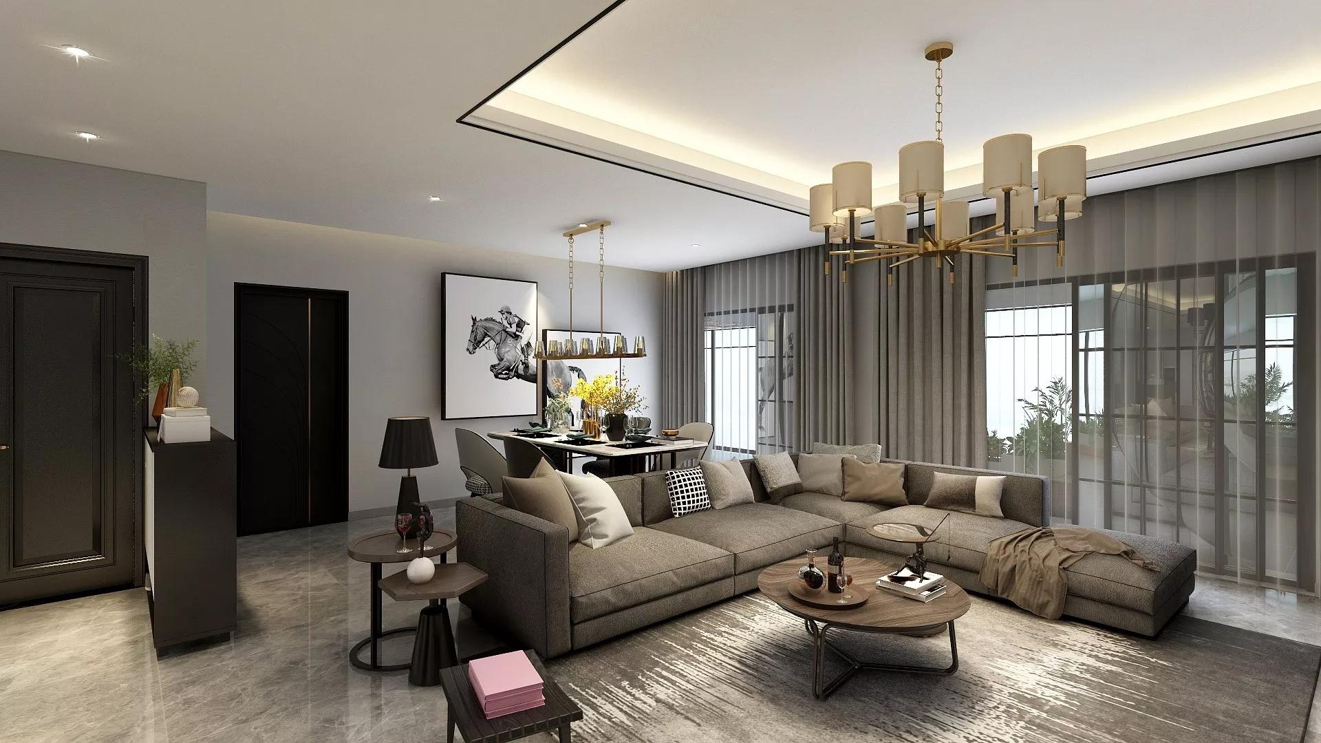 地中海式别墅客厅装修设计效果图