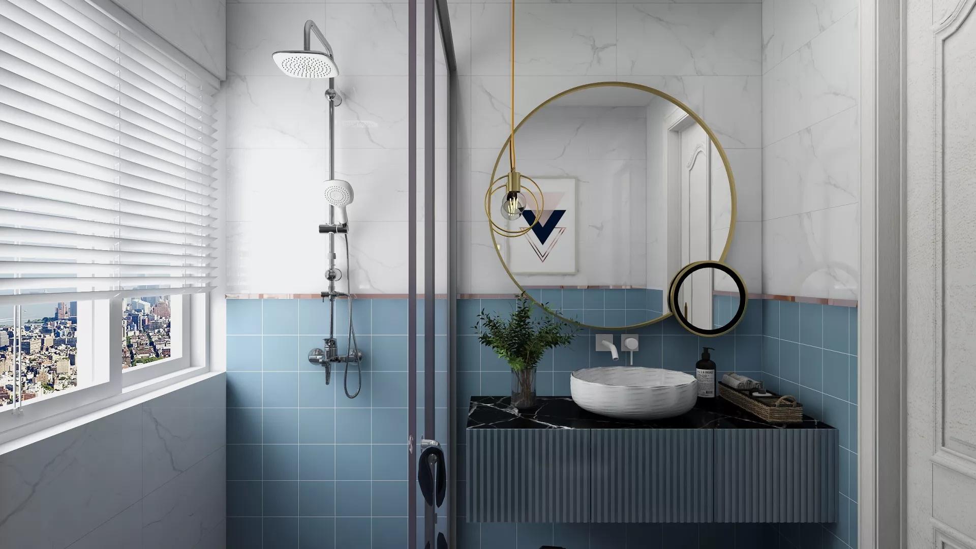 粗犷大气复古美式别墅客厅设计装潢效果图
