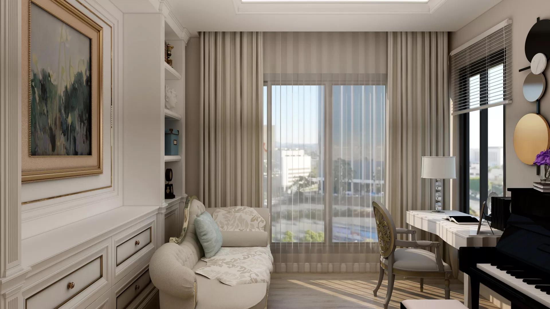 新古典风格150平公寓装修效果图