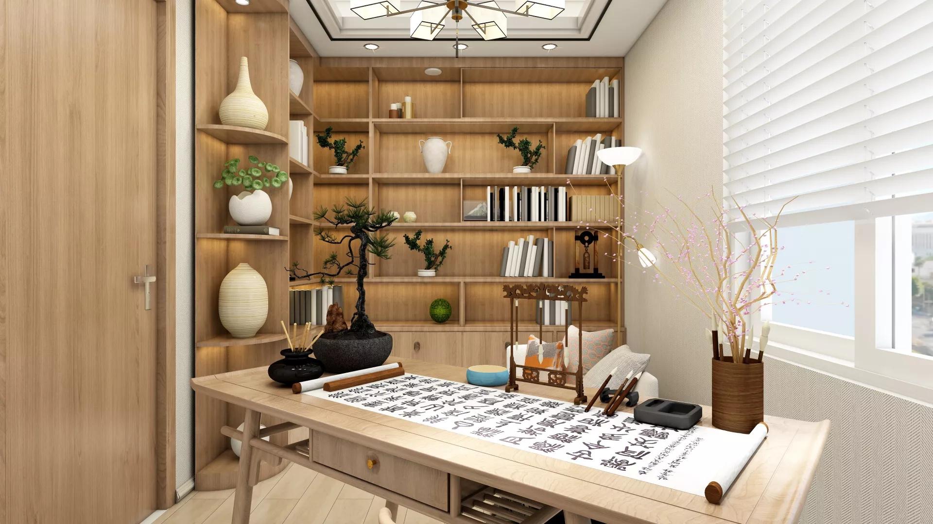 美式田园风格客餐厅一体家装设计装修图