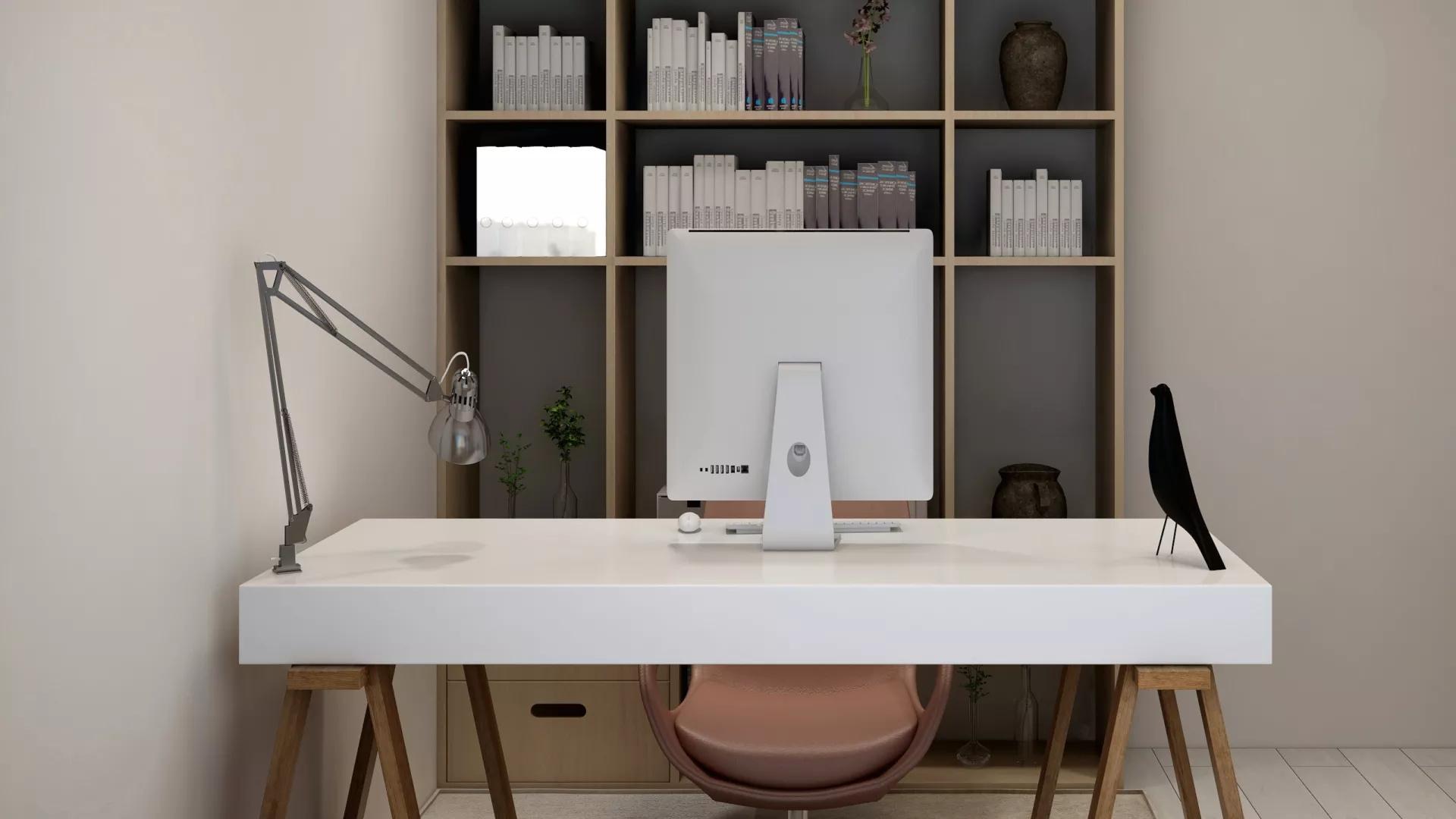 现代简洁白色三居室装修效果图